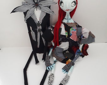 Themed - Jack Skellington The Pumpkin King & Sally Art Dolls Ooak Collectables Handmade - Marionettes - Pair Gothic Rag Dolls