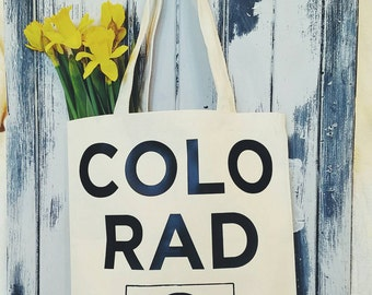 Colorado tote bag,  beach bag, market tote, grocery bag, carry all, Personalize, Customize it, graphic tote