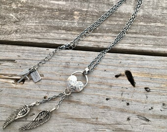 Sterling Silver Angel Wing Necklace Sterling Silver Heart Necklace Handmade Jewelry By Wild Prairie Silver