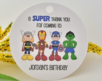 Birthday tags, birthday favor tags, birthday thank you cards, birthday for boy, super hero party, super hero tags, avengers tags