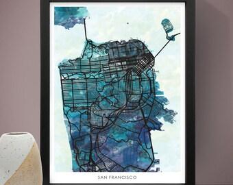 San Francisco Watercolour Poster, City Poster, Watercolour Print