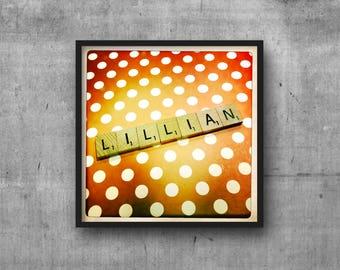 LILLIAN - Name Art - Scrabble Tile Name - Art Photo - Photography Art Print - Name Sign