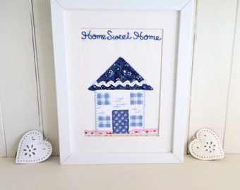 New Home Framed Embroidery, Home Sweet Home, House Warming gift, New House Art, Embroidered Textile Art, Country Cottage, Cosy Home Decor