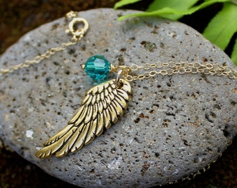 My angel necklace - gold plated angel wing and birthstone crystal on 14k gold filled delicate chain - free shipping USA