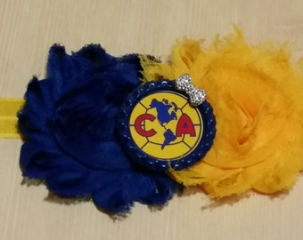Club America soccer headband! Shabby chic. Newborn, baby, toddler, girls, teen, adult