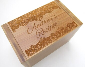 Personalized Recipe Box - Lace Design - Bamboo Recipe Box - Custom Personalized Wooden Recipe Box