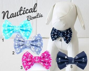 Nautical Dog Bow Tie, blue, navy, anchor