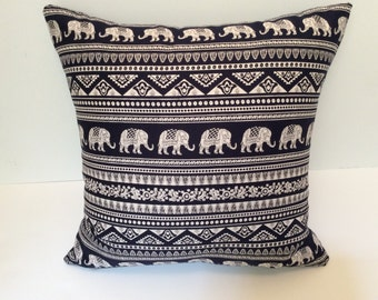 Pillow Cover, elephant design, navy and white, accent 18x18 pillow cover, toss pillow, pillows, throw pillows