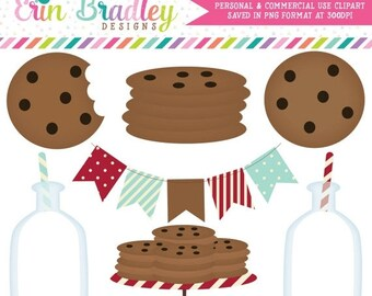 80% OFF SALE Milk and Cookies Clipart Clip Art Personal & Commercial Use