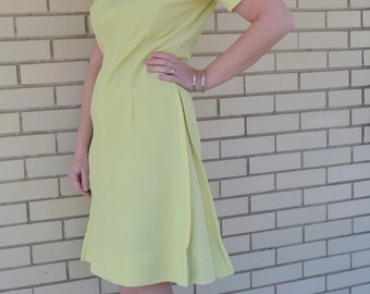 60s yellow shift dress, vintage dress with pleats, 1960s short sleeve day dress, mod clothing, polyester, round neckline