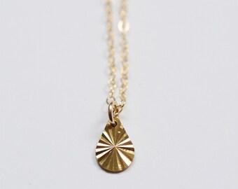 Diamond Teardrop Gold Necklace