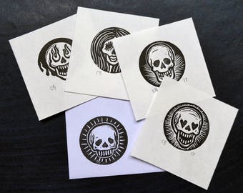 Relief Print: 4 LUCKY DIP  Mini Skull Art Prints on Japanese Paper