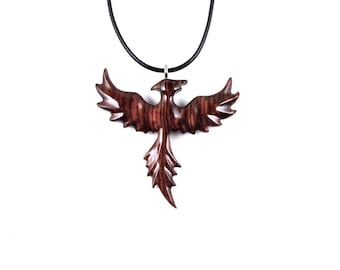 Firebird Necklace, Phoenix Pendant, Phoenix Necklace, Phoenix Jewelry, Wood Phoenix Rising Necklace Pendant, Firebird Pendant, Wood Jewelry