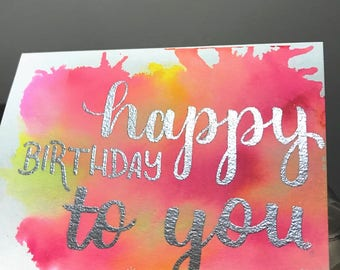 Watercolor Card with Heat Embossed Letters