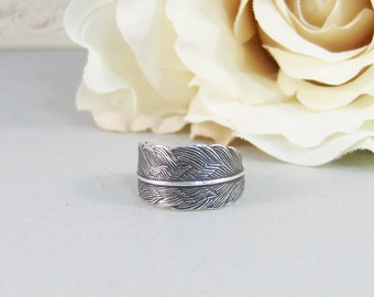 Petite Feather,Ring,Silver,Flower,Iris Ring,Antique Ring,Silver Ring,Blossom,Wedding,Bridesmaid. Handmade jewelery by valleygirldesigns.