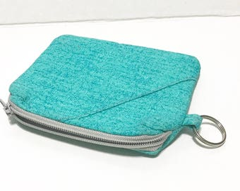 Small cosmetic pouch, zipper purse, real texture zipper pouch