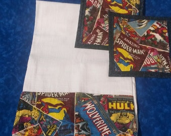Superhero Kitchen Towel & Potholder Set / Hulk / Spiderman / Wolverine / Thor / Captain America / Marvel Comics