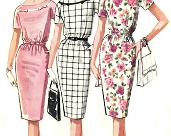 1960s Slim Bateau Neck Dress Pattern McCall's 6267 1962 Vintage Dress Pattern UNCUT, Factory-Folded Bust 36