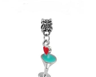 Martini Glass Blue Charm Dangling Bead for European Charm Bracelet Jewelry Making - 45D