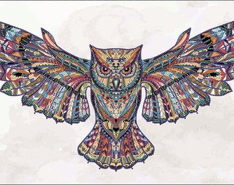 Bead embroidery kit, Colored Owl. Mehendi, needlepoint kit, 40x24 cm, DIY embroidery, kit or finished picture upon request