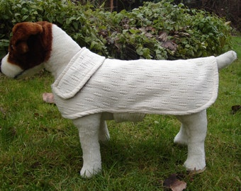 Cream Knit Fabric Dog Coat- Size Small- 12-14 Inch Back Length