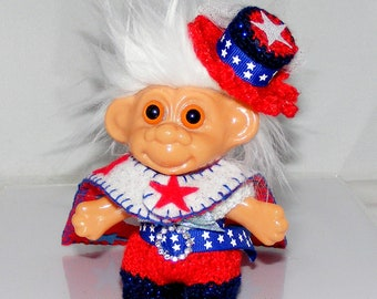"Troll Doll Clothes, 4.5"", Patiotic, 4th of July, Jumper, Reversible Cape and Hat"