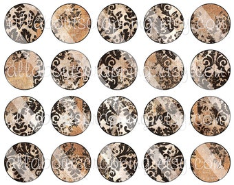 """1"""" Bottlecap Circles Digital Collage Sheet - Printable Faded and Shabby Circles For Bottlecaps Jewelry Cardmaking Magnets Stickers 0045"""