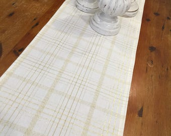 Christmas/Wedding Table Runners, Modern Crisp White & Gold Check Thread, Quality Hand Made!