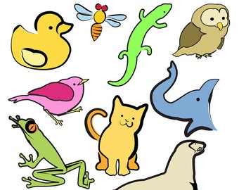 Animal Line Art,Animal Clipart, Animal Clip Art, Cat Clipart, Frog Clipart, Sealion Clipart, Duck Clipart, Digital Download