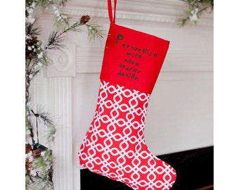 Personalized Stocking Red and White Pattern