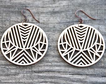 Circular Geometric Laser Cut Wood Earrings