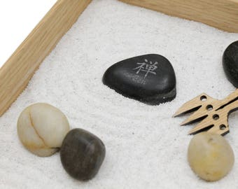 Mini Zen Garden - Karesansui with White Sand - Includes Rocks, Rake, and Zen Power Stone - White Sand or Black - Sustainable Harvest Oak