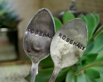 Rosemary Vintage Silverware Garden Marker Plant Stake (E0312)