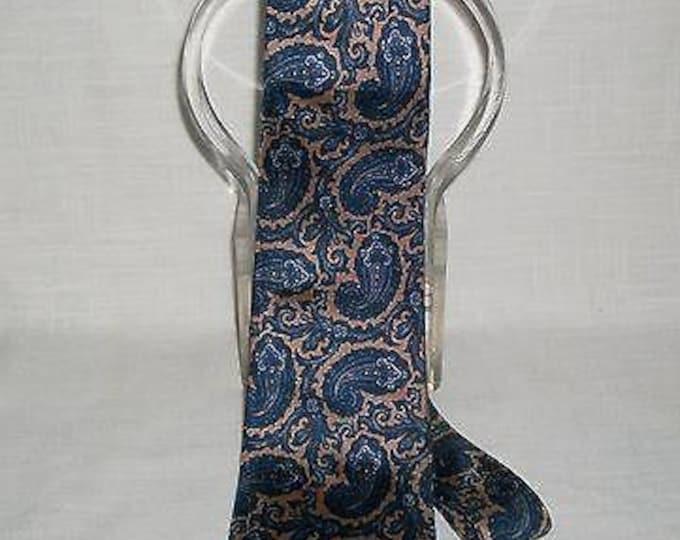 Vintage 90s Pierre Cardin Blue Beige Tan Silk Blend Paisley Mens Classic Short Neck Tie Necktie