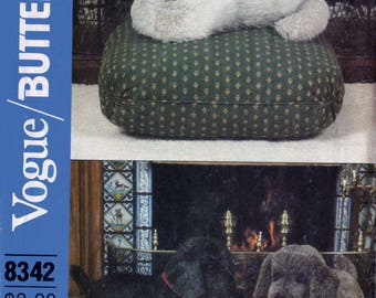 Vintage 80s Life Size Stuffed Dog & Cat Sewing Pattern Vogue / Butterick 8342 Standing Puppy Dog, Sitting Kitty Cat UNCUT