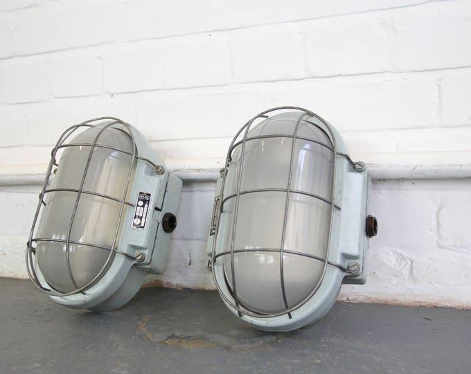Czech Industrial Wall Mounted Bulkhead Lights Circa 1960s