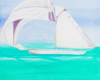 The White Sailboat - Colorful Abstract Art - Paper Print