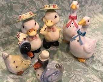 Three Sets of Vintage Ducks Salt and Pepper Shakers