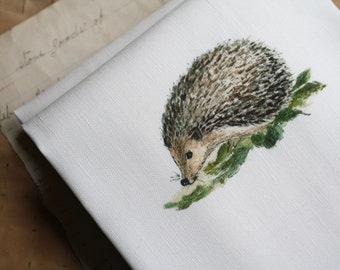 LAST ONE! Hedgehog Tea Towel Kitchen Towel Linen and Cotton Watercolor Prints Sandbox Original Dish Towel Dishtowel