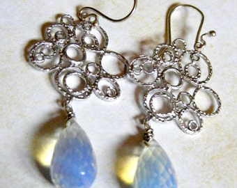 Pure in White and SIlver Earrings