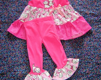 Custom Boutique Size 5-7 Girls Outfit Disney Aristocats, Top and Stretch Leggings