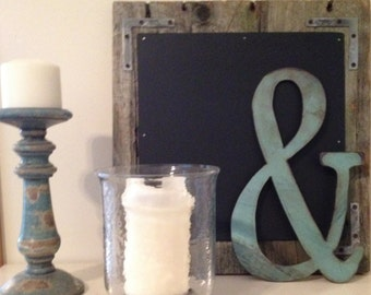 Ampersand, Metal Ampersand, Teal Ampersand, Industrial Antiqued Ampersand