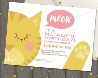 Cat birthday invite etsy kitty birthday invitation cats kitten party cat party cat birthday kitten birthday party pink peach blue filmwisefo Image collections