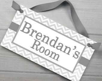 Grey Chevron Boys Door Sign Bedroom Baby Nursery Kids Bedroom DOOR SIGN Wall Art - or You Choose the Colours DS0138