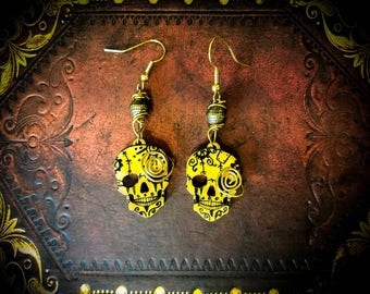Spiral Circus, CLOSEOUT,Sale,Laser Cut Wood Skulls,Hand painted Earrings, Skull Earrings, Rustic Jewelry, Wire Jewelry, messy wire look,Punk