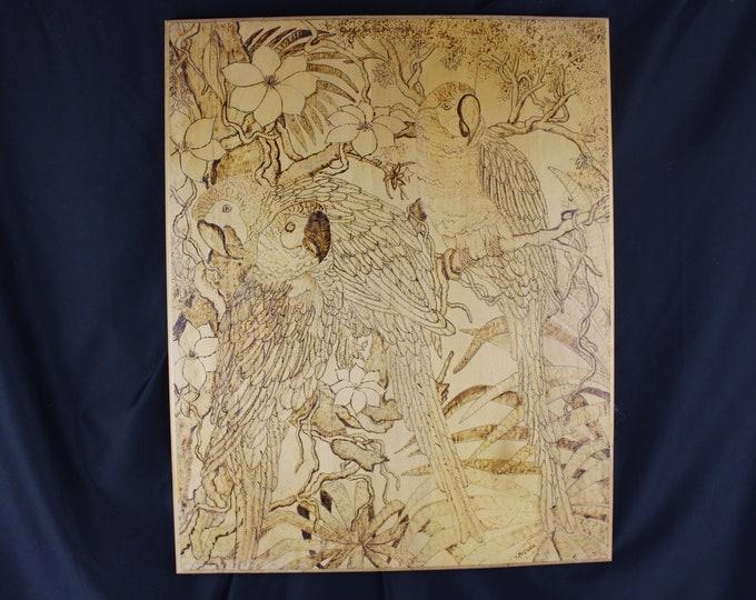 Folk Art K. Mazurak, Pyrography,-Wood Burning and Painting Wall Decor Parrots in Jungle