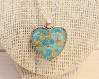 Blue and gold leaf heart pendant necklace - with silver pendant and chain