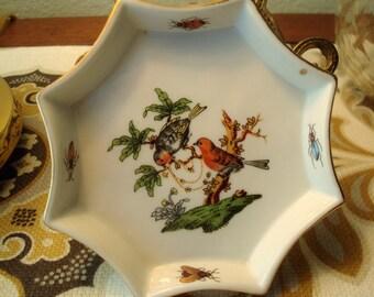 Vintage Porcelain Bird & Bees Trinket Dish - Scalloped Octagon - Excellent Condition!!