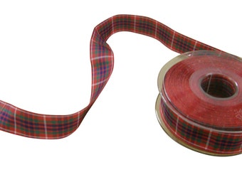 Frazer Scottish Tartan Red Green Blue Reversible Ribbon 25mm *4 Lengths*