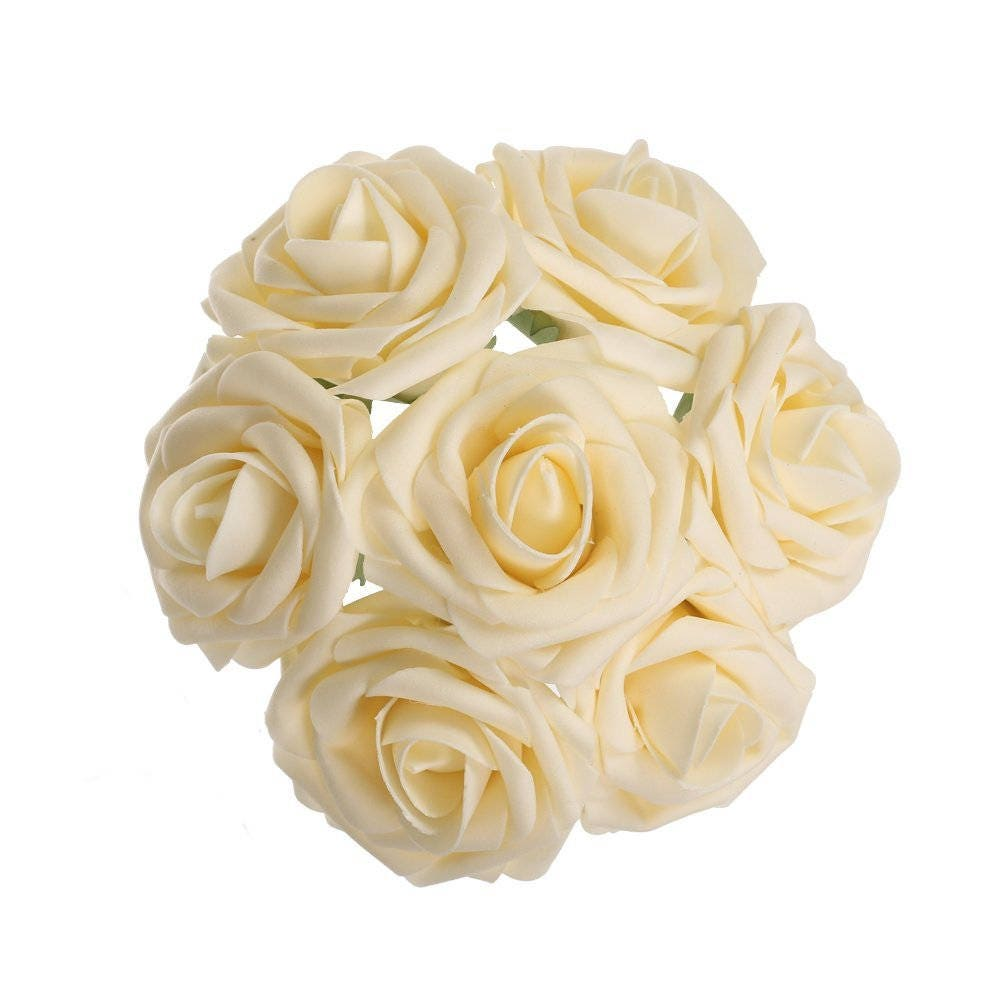 Ivory Flowers Artificial Champagne Wedding Flowers Foam Roses